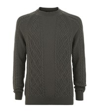 Harrods Of London Cable Knit Jumper Male Green
