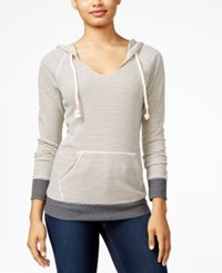 Miss Chievous Juniors' Striped V Neck Hoodie Grey Funnel Cake Grey