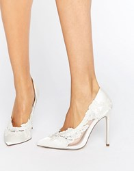 Asos Pure Bridal Pointed Lace Heels Ivory White