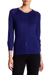 Yigal Azrouel Fitted Silk And Cashmere Blend Cardigan Blue