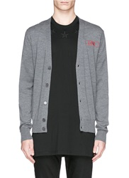 Givenchy Love Embroidery Wool Cardigan Grey