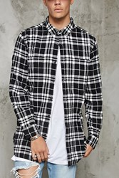 Forever 21 Plaid Flannel Slim Fit Shirt White Black