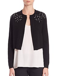 Rebecca Taylor Crystal Embellished Cardigan Black