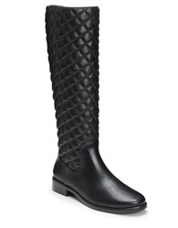 Aerosoles Establish Faux Leather Quilted Riding Boots Black