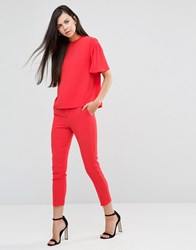 Finders Keepers Close To Me Cropped Trousers Poppy Red