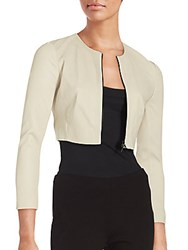 Narciso Rodriguez Long Sleeve Cropped Lambskin Leather Jacket Stone