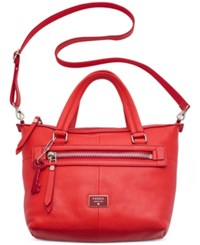 Fossil Dawson Leather Satchel Real Red
