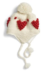 Nirvanna Designs Women's Bobble Stitch Heart Earflap Hat Ivory Ivory Red