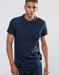 Esprit Slub Polo Shirt In Slim Fit Navy