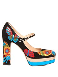 Valentino Japanese Butterfly Suede Mary Jane Shoes Blue Multi