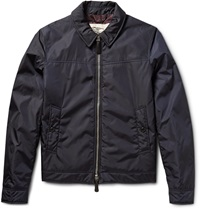 Burberry Newbury Leather Trimmed Shell Jacket Blue