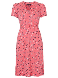 French Connection Mini Belle Jersey Button Front Dress Party Pink