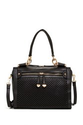 Urban Expressions Mattie Perforated Vegan Leather Satchel Black