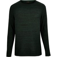 River Island Mens Dark Green Knitted Crew Neck Jumper