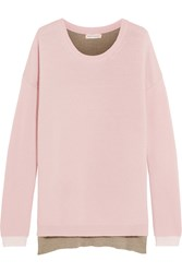 Chinti And Parker Two Tone Merino Wool Sweater Baby Pink