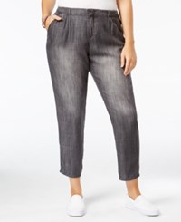 Standards And Practices Trendy Plus Size Cropped Grey Wash Straight Leg Jeans