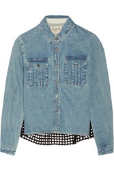 Sea Broderie Anglaise Cotton Paneled Denim Shirt Blue