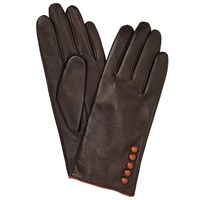 John Lewis Fleece Lined 5 Button Leather Gloves Brown Tan