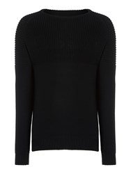 Label Lab Vermouth Ribbed Chest And Sleeve Knitted Jumper Black