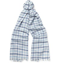 Loro Piana Checked Cashmere Silk And Hemp Blend Scarf Blue