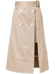 Sacai Layered Midi Skirt Brown
