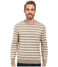 Nautica 9 Gauge Striped Crew Wood Drift Flux Men's Sweater White