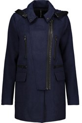 W118 By Walter Baker Carol Faux Leather Trimmed Woven Hooded Coat Midnight Blue