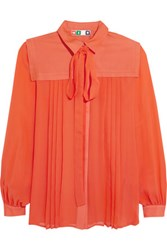 Msgm Pussy Bow Silk Crepe De Chine Shirt Bright Orange