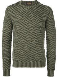 Tod's Diamond Knit Jumper Green