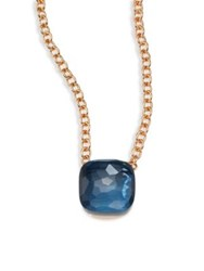 Pomellato Blue Topaz And 18K Rose Gold Pendant Necklace