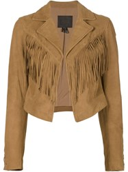 Paige Cropped Fringed Jacket Brown