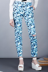Opening Ceremony Painted Leaves Denim Knee Slit Trousers Pelagic Blue Multi