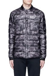 Isaora Camouflage Print Down Puffer Jacket Grey