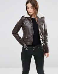 Barney's Originals Aviator Faux Leather Jacket Chocolate Brown