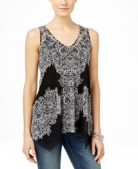 Inc International Concepts Sleeveless Handkerchief Hem Top Only At Macy's Placed Lace Explosion
