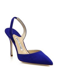 Manolo Blahnik Carolyne Suede Slingback Pumps Orange Blue Yellow