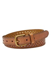 Women's Fossil Perforated Leather Belt Camel