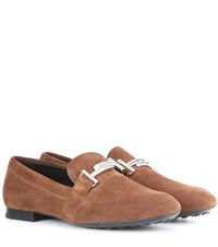 Tod's Gomma Suede Loafers Brown