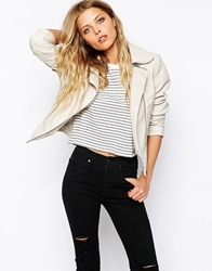 Noisy May Faux Leather Jacket With Ribbing Cream