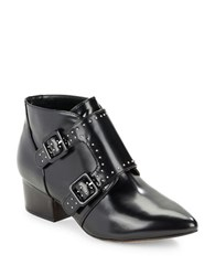 French Connection Roree Monk Strap Leather Booties Black