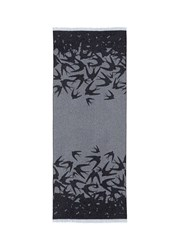 Mcq By Alexander Mcqueen Swallow Jacquard Wool Blend Scarf Grey