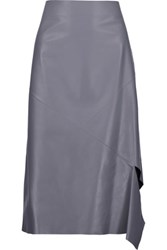 Jil Sander Draped Leather Skirt Gray