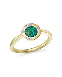 Meira T 14K Yellow Gold Opal Ring With Diamonds