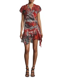 Roberto Cavalli Cap Sleeve Printed Wrap Dress Red Pattern Women's