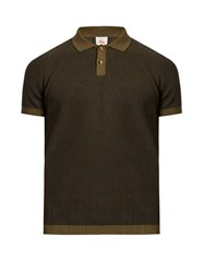 Orley Contrast Collar Cotton Knit Polo Shirt Dark Green