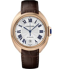 Cartier Cle De 40Mm 18Ct Rose Gold And Leather Watch Sapphire