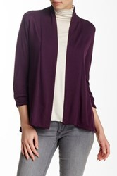 Hip Hacci Ruched Sleeve Cozy Cardigan Purple