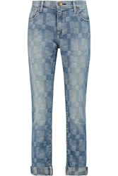 Current Elliott The Fling Patchwork Low Rise Boyfriend Jeans Blue