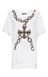Dolce And Gabbana Beaded Cross Chain Patch Tee White