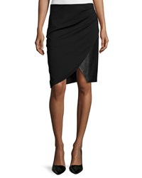 Halston Draped Combo Pencil Skirt Black